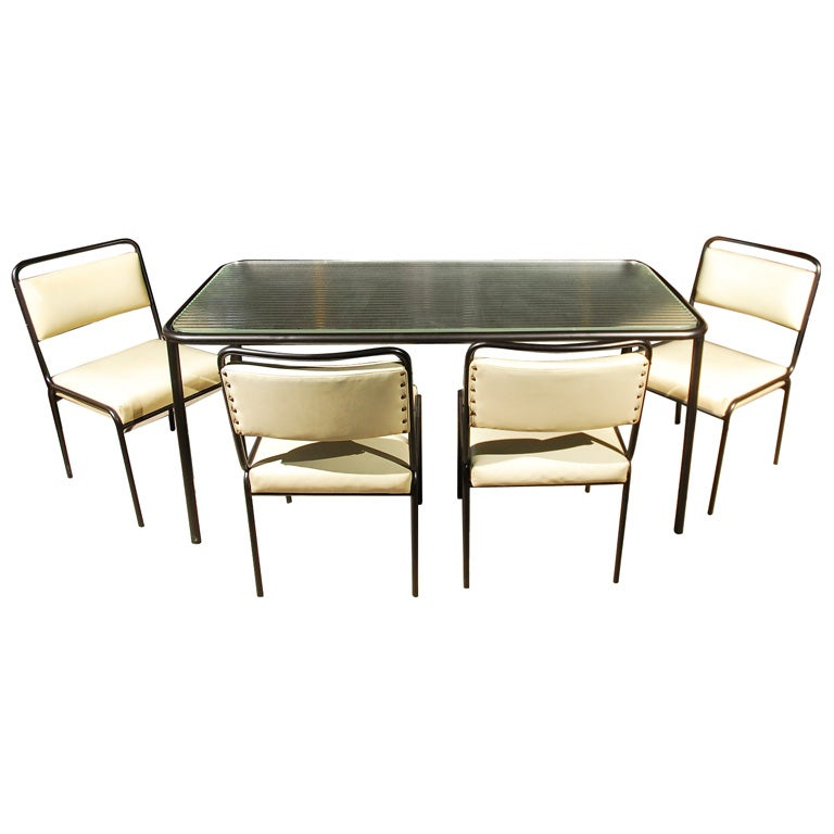 Van Keppel Green Black Tubular Steel Dining Table and