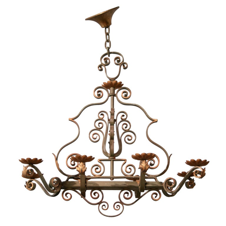 Rectangular Forged Iron Chandelier At 1stdibs