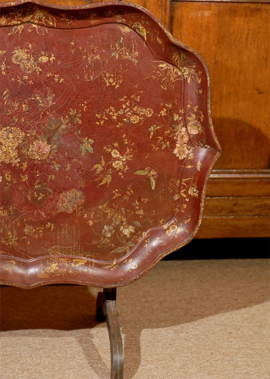 19th Century English Shaped Oval Painted Chinoiserie Tray on Folding Stand. For Sale