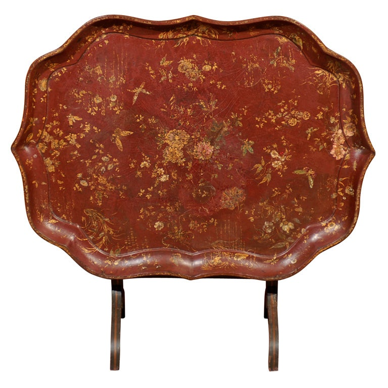English Shaped Oval Painted Chinoiserie Tray on Folding Stand.