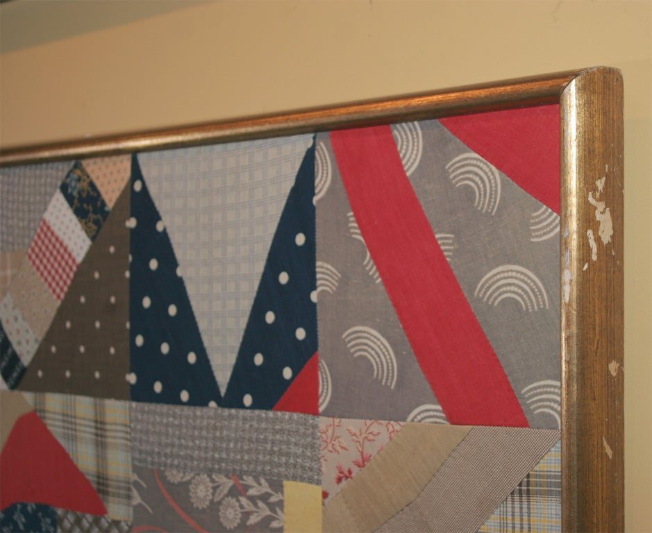 A crazy quilt variation, this unusual quilt top contains