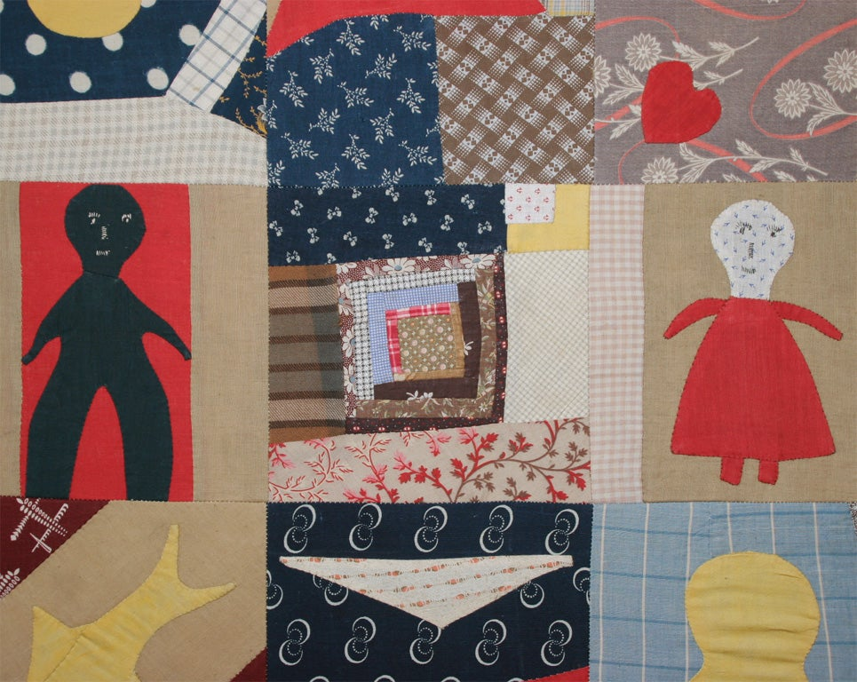 American Small Patchwork and Applique Folk Art Textile For Sale