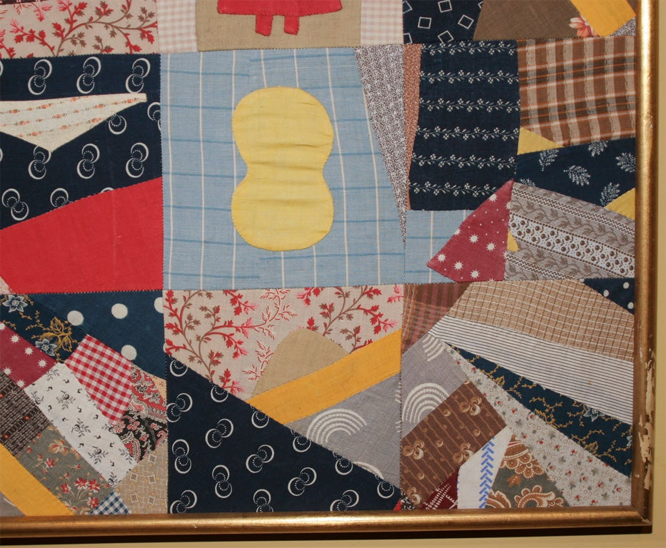 Cotton Small Patchwork and Applique Folk Art Textile For Sale