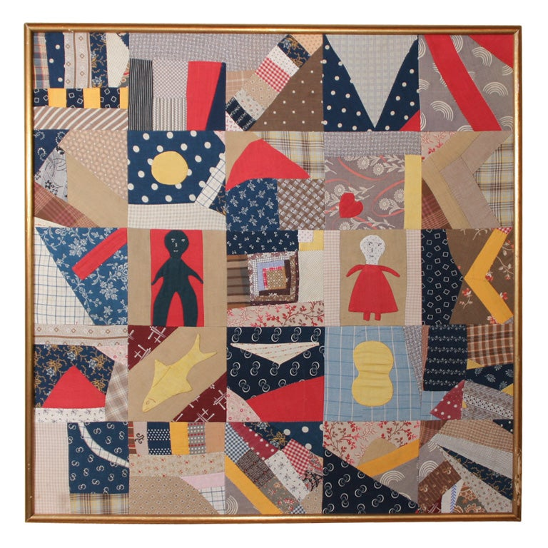 Small Patchwork and Applique Folk Art Textile For Sale