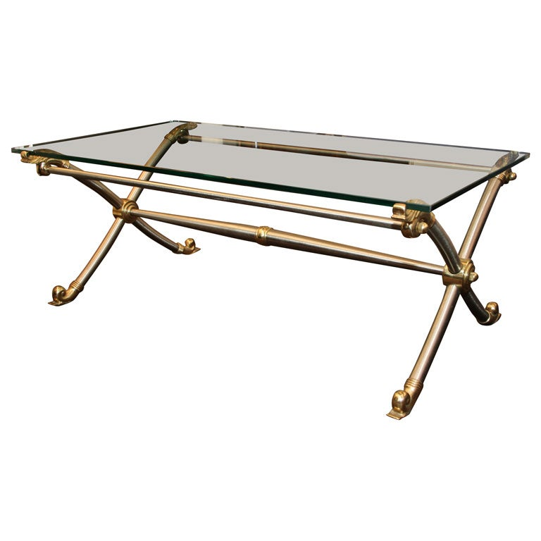 Mid Century Brushed Steel, Brass, And Glass Cocktail Table