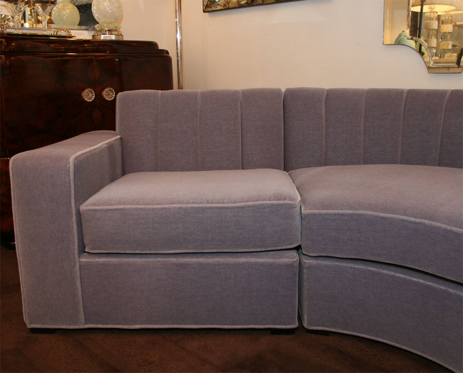 streamline art deco three piece sectional sofa at 1stdibs. Black Bedroom Furniture Sets. Home Design Ideas