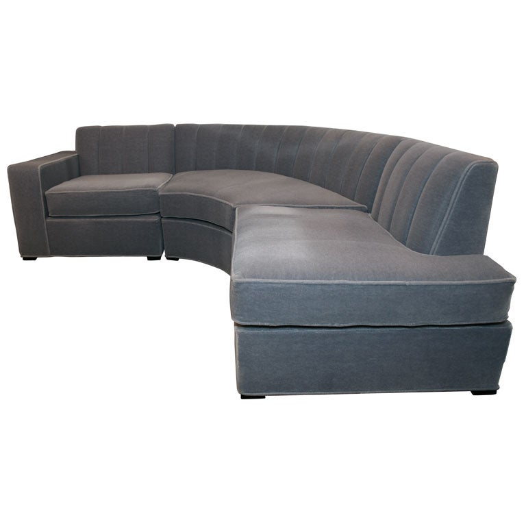 Streamline Art Deco Three Piece Sectional Sofa