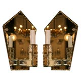 Stunning Pair of 1940's Art Deco Mirrored Pentagon Sconces