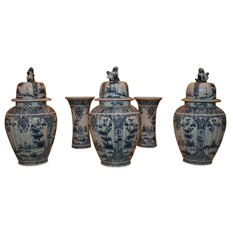 Five Dutch delft vases For Sale