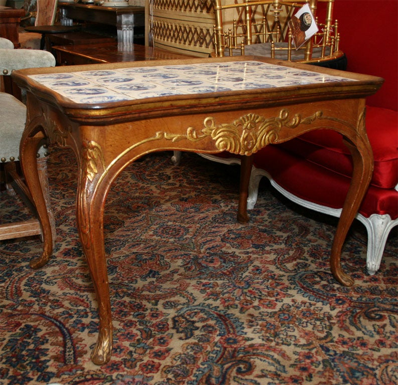 Swedish Rococo Carved Oak Table With Dutch Delft Tile At 1stdibs