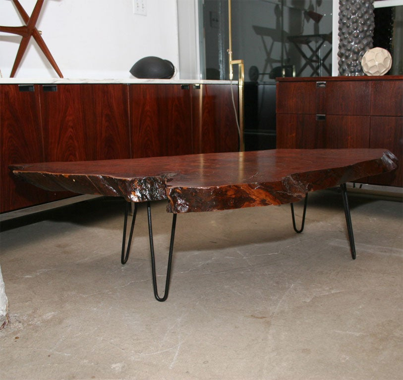 Solid Walnut Free Form Coffee Table With Iron Legs At 1stdibs