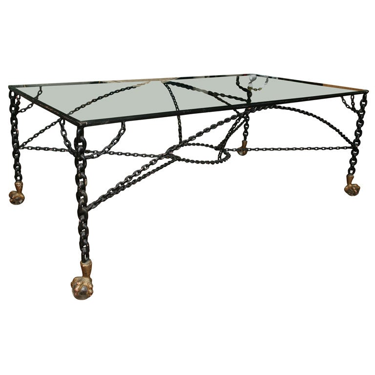 Chain link table with ball and claw feet at stdibs