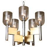 Gaetano Sciolari Chrome and Brass Chandelier
