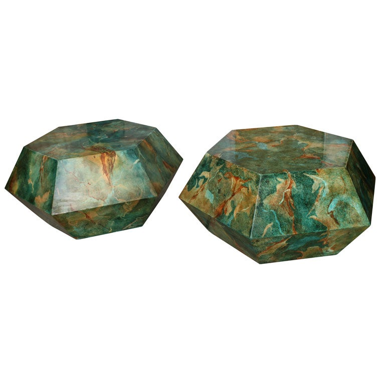 Pair Hexagonal Faux Marbre Low Tables At 1stdibs