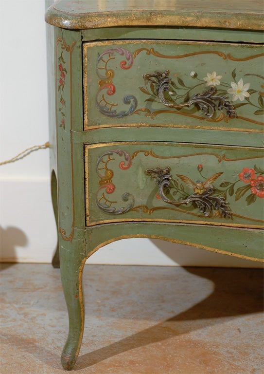 Italian Rococo Style Soft Green Painted Two-Drawer Commode with Pastoral Theme In Excellent Condition For Sale In Atlanta, GA