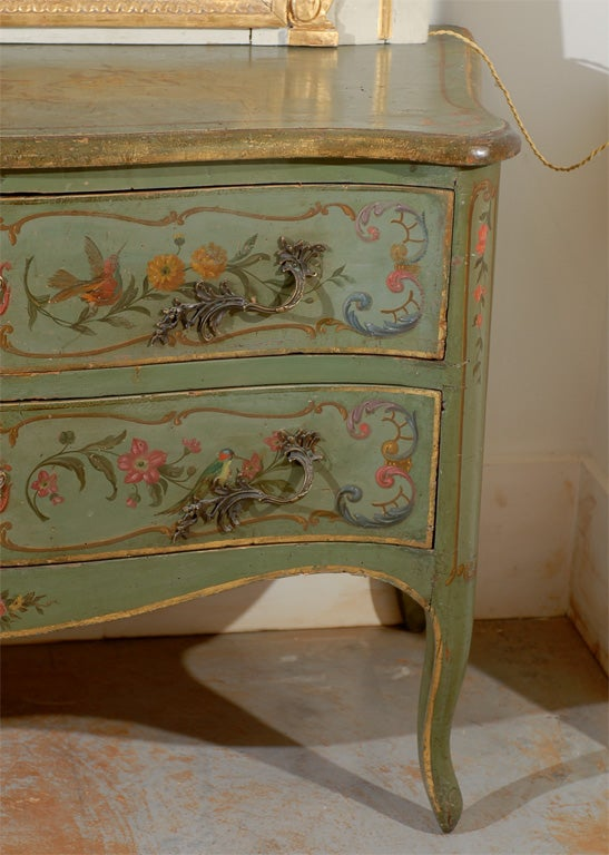 19th Century Italian Rococo Style Soft Green Painted Two-Drawer Commode with Pastoral Theme For Sale