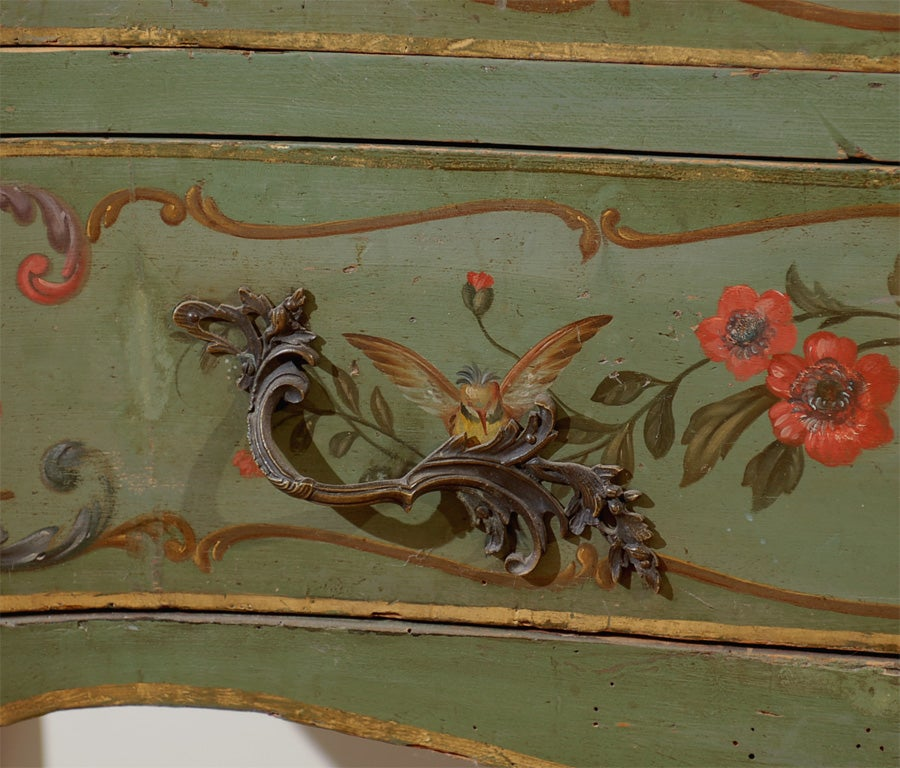Italian Rococo Style Soft Green Painted Two-Drawer Commode with Pastoral Theme For Sale 1