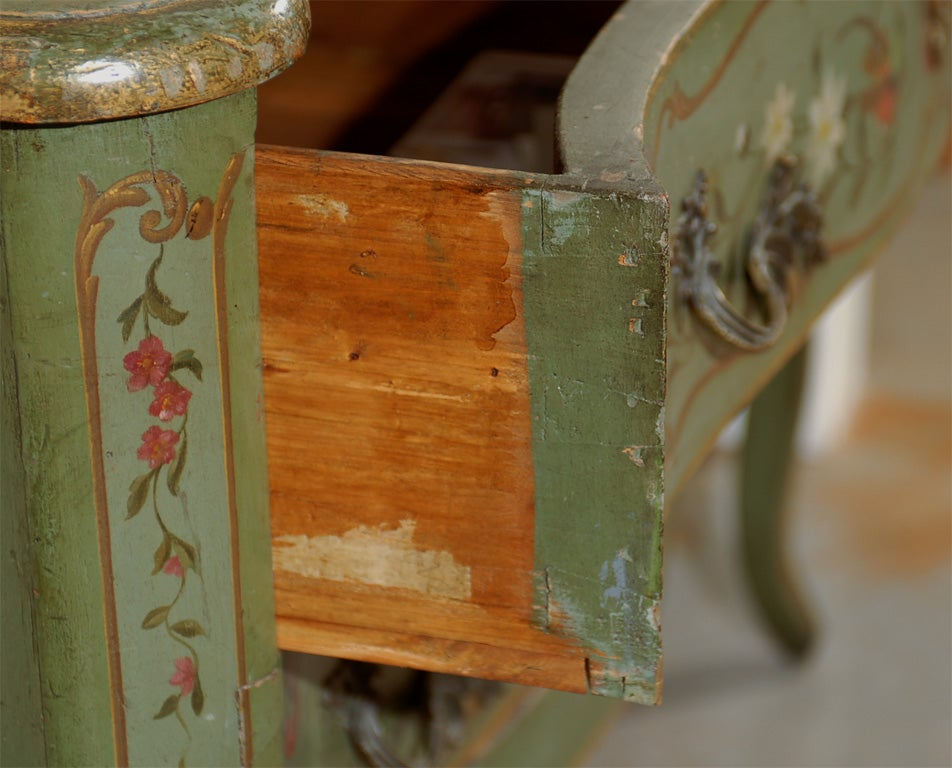 Italian Rococo Style Soft Green Painted Two-Drawer Commode with Pastoral Theme For Sale 3