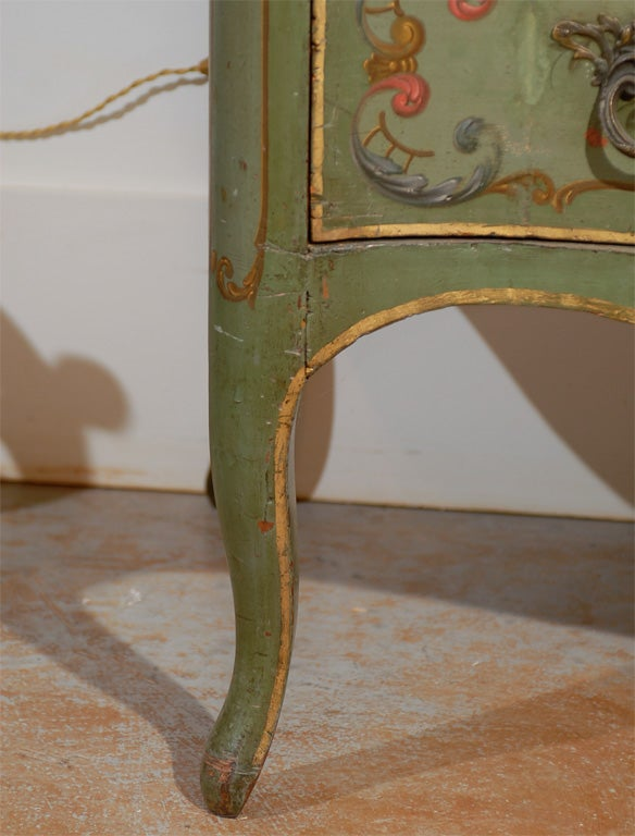 Italian Rococo Style Soft Green Painted Two-Drawer Commode with Pastoral Theme For Sale 5