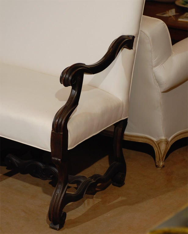 Famechon Sofa With Channeled Back And Seat Walnut Legs: Italian Walnut Sofa With Mutton Leg-C.1860 For Sale At 1stdibs
