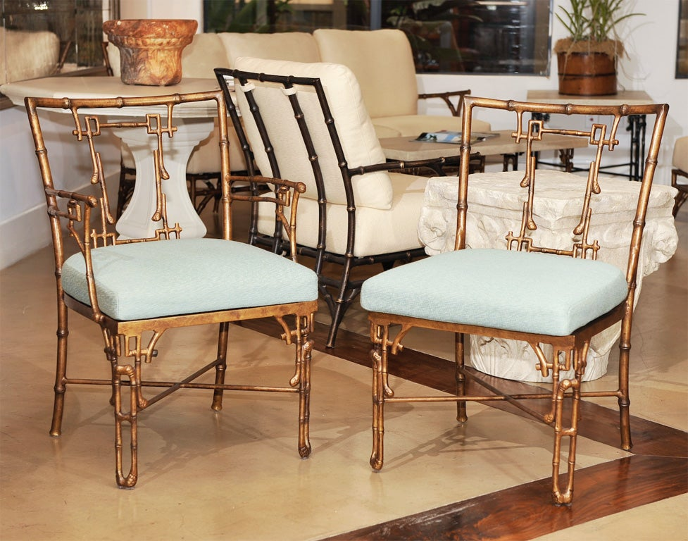 Michael Taylor Metal Outdoor Bamboo Dining Chair Set at 1stdibs