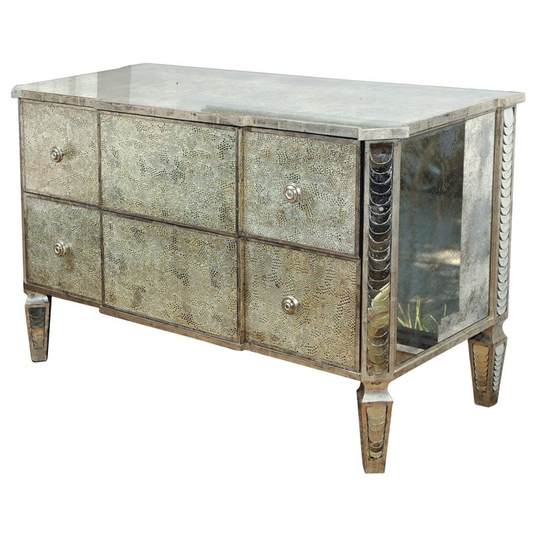 Crocodile Mirrored Venetian Commode With 12k White Gold Accents At 1stdibs