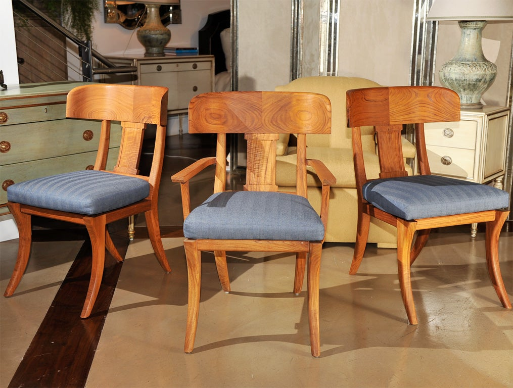 Michael Taylor Outdoor Oiled Teak Klismos Dining Chairs At 1stdibs