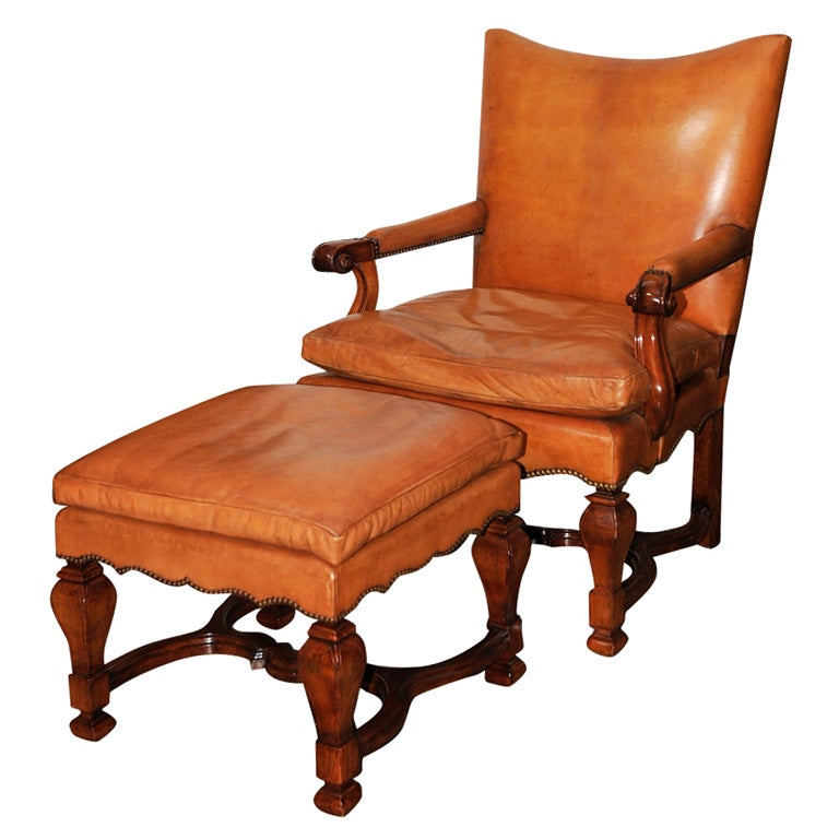 Hand Carved Walnut Leather Library Chair And Ottoman At