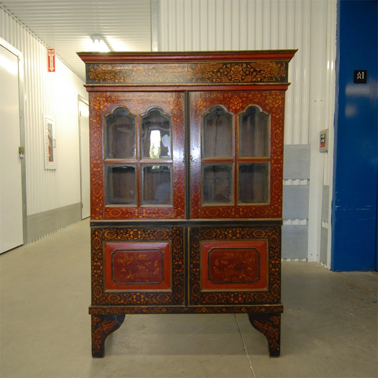 Mid 19tc Indonesian Dutch Colonial Stenciled Double Glass Door Bookcase