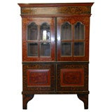 Mid 19tC. Indonesian Dutch Colonial Stenciled Double Glass Door Bookcase