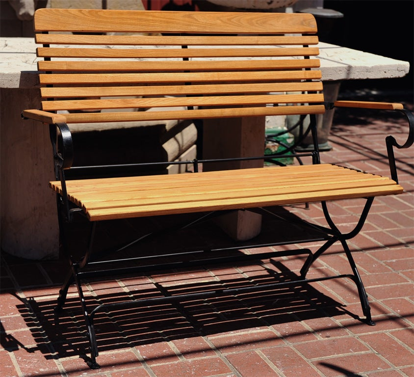 Wood and iron folding garden bench at 1stdibs - Wood and iron garden bench ...