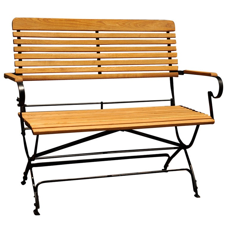 Great Folding Outdoor Bench Wood And Iron Folding Garden Bench At 1stdibs