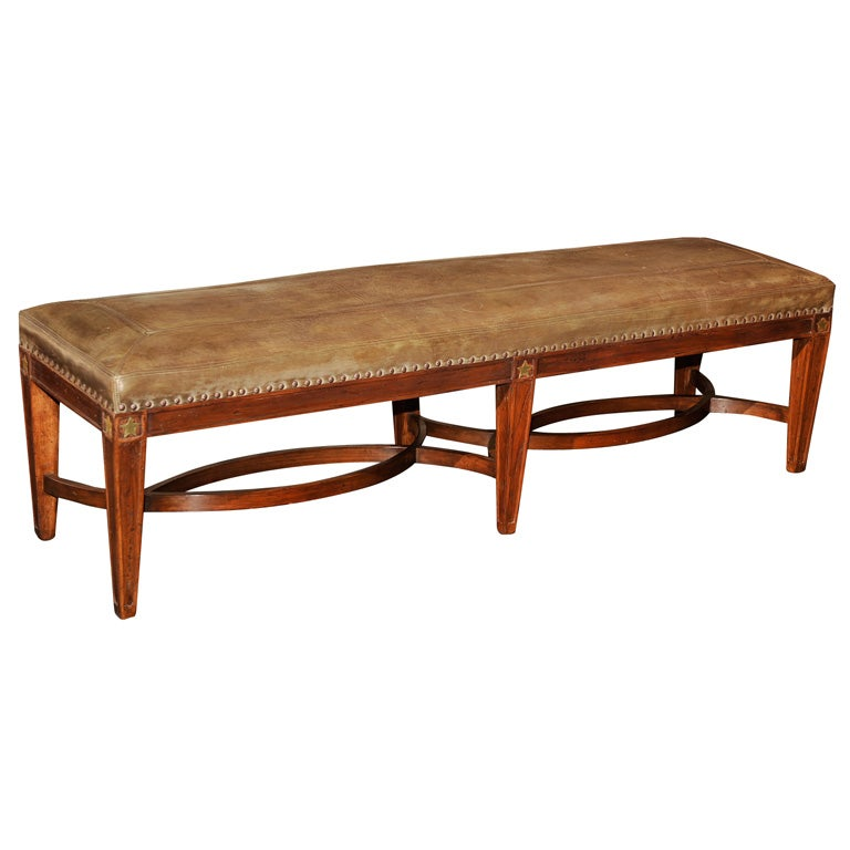 Leather And Wood Long Bench At 1stdibs