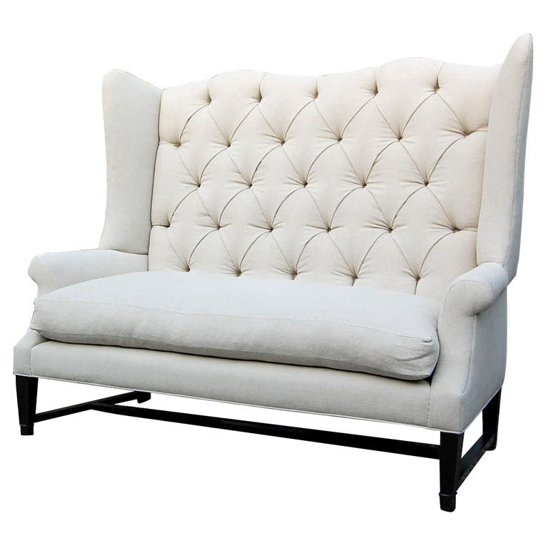Wing back sofa for sale at 1stdibs for Tufted couches for sale