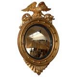 19th Century Eagle Crested Convex Mirror