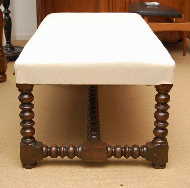 Upholstered Coffee Table With Bobbin Legs At 1stdibs
