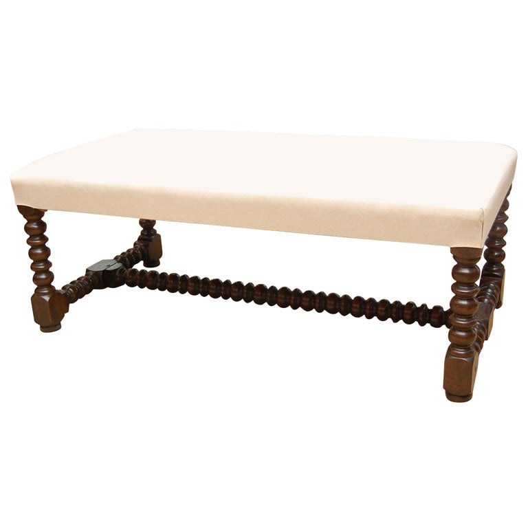English Upholstered Coffee Table With Bobbin Legs At 1stdibs