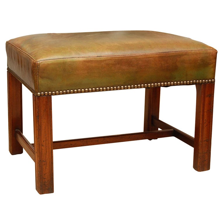 1950 S English Georgian Style Leather Top Stool At 1stdibs