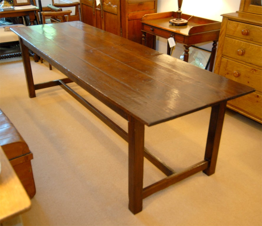 Large 8 foot long wood dining table at 1stdibs for Long dining room table