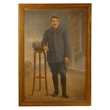 Very Large Painting of a French Soldier, signed 1911