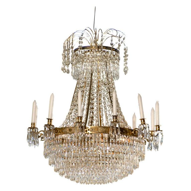 Swedish Gustavian Crystal Chandelier Circa 1800 1810 At