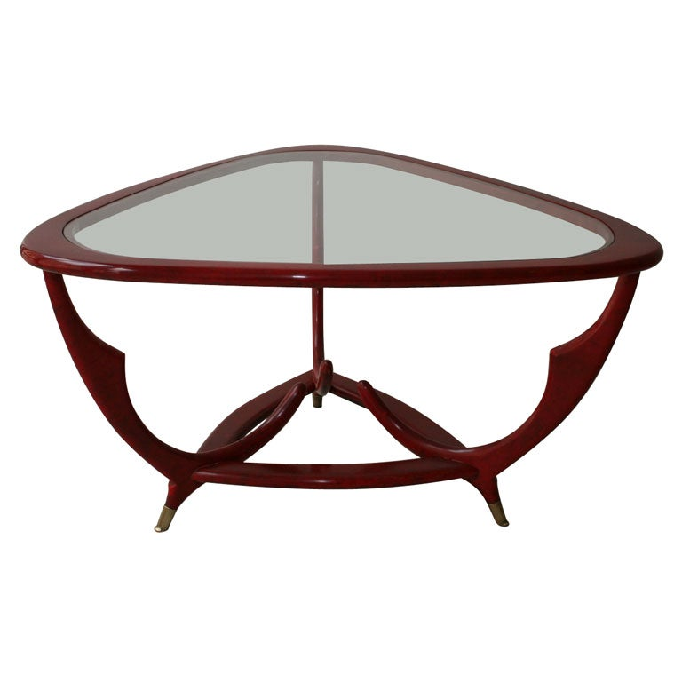 Curved Burgundy Stained Coffee Table At 1stdibs