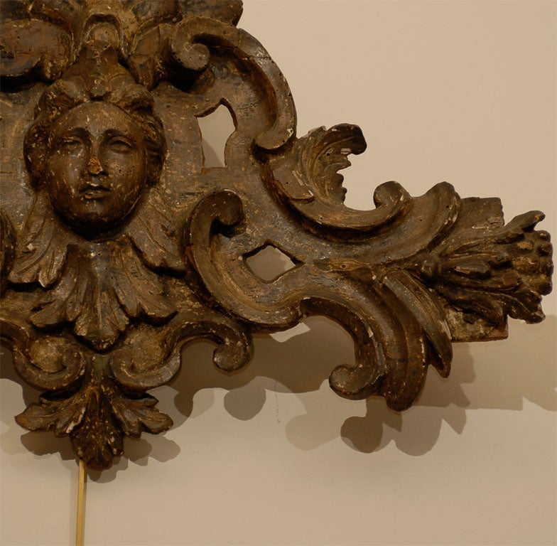 18th Century and Earlier Pair of 18th century Italian Silvered Wood Carvings, ca. 1760 For Sale
