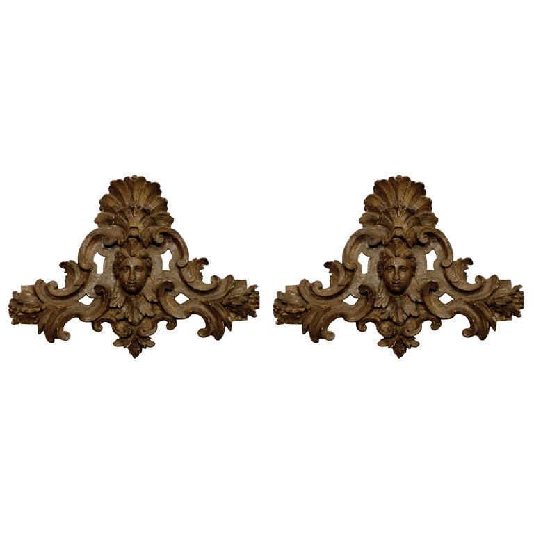 Pair of 18th century Italian Silvered Wood Carvings, ca. 1760