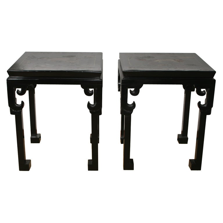 Fine Pair of Custom Made Chinoiserie Black Lacquer Low Tables