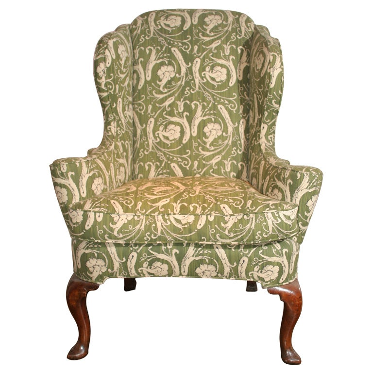 Queen Anne Antique Walnut Wing Chair At 1stdibs