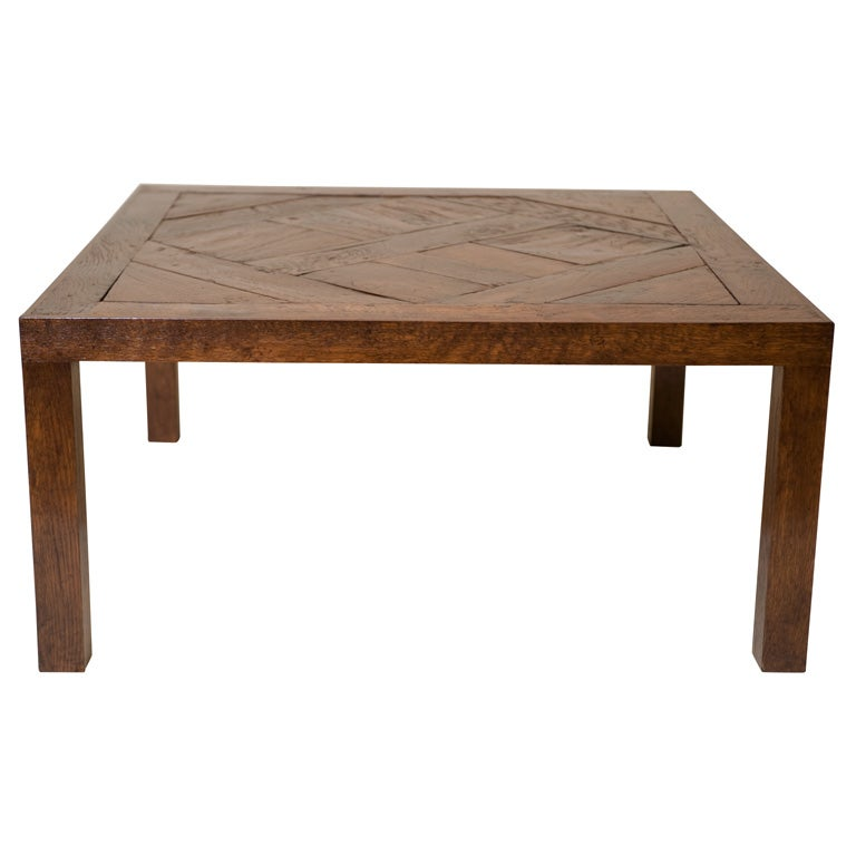 French Parquetry Coffee Table: A French Oak Parquetry Coffee Table With Modern Elements