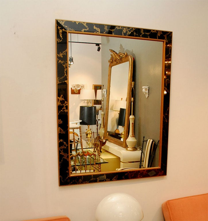Large Deco Style Mirror With Gold Veined Black Glass Frame