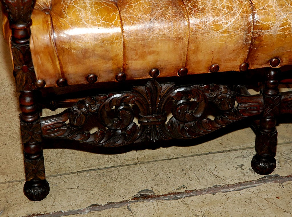 Carved Walnut Leather Tufted High Back Sofa Bench C 1900