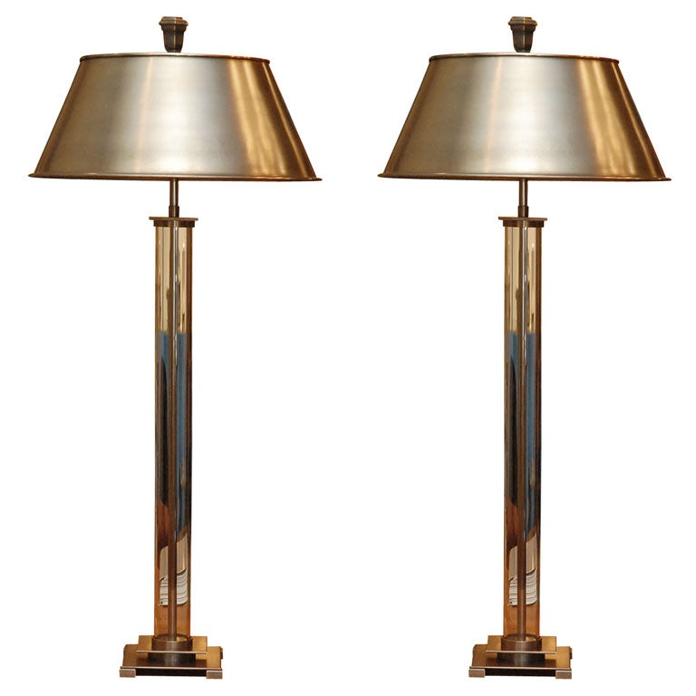 Pair Of Glass Cylinder Table Lamps At 1stdibs